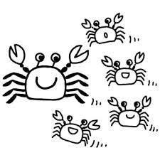 カニ海の生き物夏のイラスト無料白黒イラスト素材