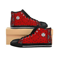 Red Designer Shoes Ghetto Govt Officialz Red Bandana Logo Designer Shoes Mens High Top Sneakers Heaven Razah Hell Razah