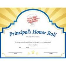 Principal Award Certificate Sunburst Custom Certificate Principals Honor Roll In Blue
