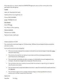 Construction Contract Template Contract Agreements Formats Examples