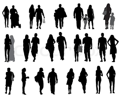 Set Of Silhouette Walking People And Stock Vector Colourbox