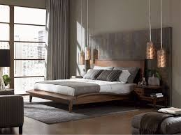 contemporary bedroom design. Neutral Bedroom With Copper Pendant Lights. Contemporary Design O