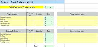 Software Development Estimation Spreadsheet Excel Spreadsheet