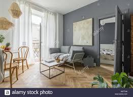 Wohnzimmer Esszimmer Und Schlafzimmer Im Skandinavischen