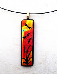 dragonfly sunset fused glass necklace pendant