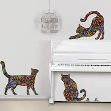 Small Picture Cat Wall Sticker Trio Set of 3 Floral Cat Decals Contemporary
