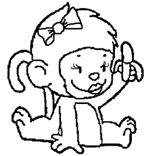 Small Picture Line Drawings Baby Monkey Coloring Pages New In Set Animal