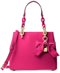 MICHAEL KORS Ultra Pink Cynthia North South Satchel Purse Bag 30H7GCYS5L NWT