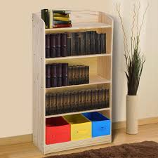 5 tier wood bookshelf bookrack with 3 non woven bins storage organizer bookcase shelving book