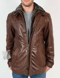 mens hip length chestnut brown leather jacket osprey detach faux fur collar front