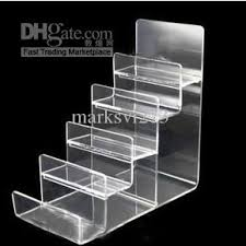 Plastic Stands For Display Clear Black Multi Layer Acrylic Shelf Wallet Purse Display Stand 8