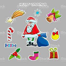 Weihnachtliche Sticker Set Vektorhandgemalte Cliparts Santa
