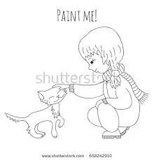 cute stroking kitten coloring book stock vector cute stroking a kitten coloring book for