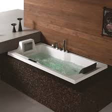 ... Bathtubs Idea, Whirlpool Jetted Tub Lowes Jacuzzi Tub Amazing Dark  Brown Mosaic Surrounding Tile For ...