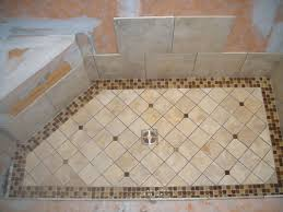 Grand Shower Floor Tile in Small Shape Design Colored in Beige also Brown