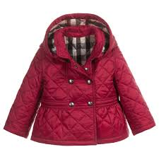 Burberry Baby Girls Dark Pink Quilted coat with Detachable Hood at ... & Burberry Baby Girls Dark Pink Quilted coat with Detachable Hood at  Childrensalon.com Adamdwight.com