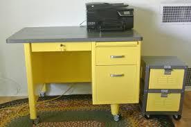 vintage steel single pedestal desk