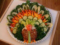 Decorative Relish Tray For Thanksgiving Cheese meat and veggie tray shaped like a turkey on an apple 20