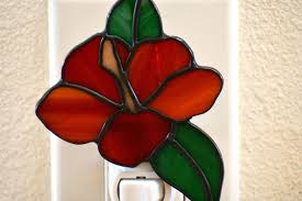 Stained Glass Night Light Kits Stained Glass Hibiscus Flower Night Light Red Hibiscus