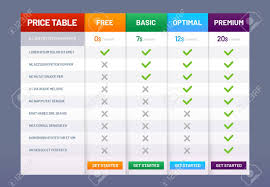 Plan Comparison Chart Pricing Table Chart Price Plans Checklist Prices Plan Comparison