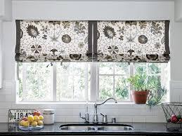 Decorating Kitchen Windows Wonderful Diy Kitchen Window Treatments With Floral Pattern Roll