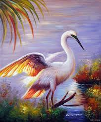 great white heron egret florida everglades swamp oil on canvas painting