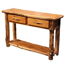 aspen 2 drawer sofa table with shelf