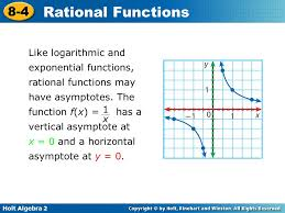 like logarithmic and exponential functions rational functions may have asymptotes the function f
