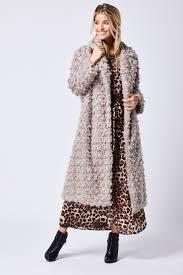 grey long faux fur coat