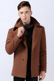 tan pea coats cool style with thick wool blend