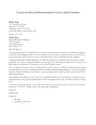 Customer Service Representative Cover Letter Examples Resume