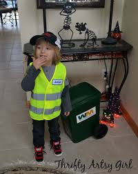 thrifty artsy girl take out the trash diy toddler sized wheeled trash can and garbage man costume