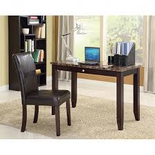 furniture sean faux marble top espresso finish 2 piece desk set free with regard to elegant