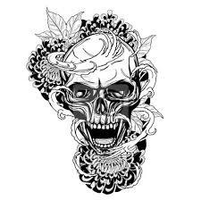 Fototapeta Lebka S Chryzantéma Tetování Rukou Drawingtattoo Umění Vysoce