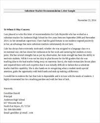 Teacher Recommendation Template Letter Of Recommendation For Substitute Teacher Template How To