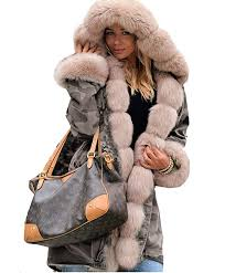 aox womens luxury beige faux fur hooded army green camouflage plus size thicken pockets parka coat