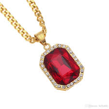 whole men hip hop stainless steel red gem pendant necklace 22k gold plated ruby pendants necklaces fashion hiphop rapper rhinestone punk jewelry costume