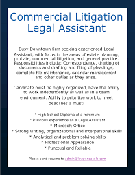 commercial litigation legal assistant escambia santa rosa bar job opening