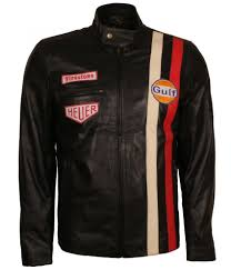 Designer Black Leather Jacket Steve Mcqueen Le Man Grand Prix Stripe Gulf Brown Biker Leather Jacket