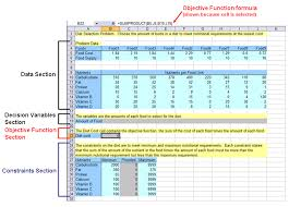 diet excel sheet the four sections of the spreadsheet