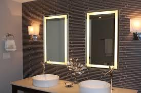 Corner bathroom mirror with installed lights creates a feeling of