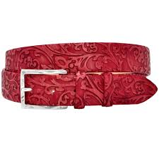 red leather belt floreal pattern loading zoom