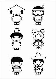 Kleurplaat Kinderen Culturen Kansainvälisyys Culture Coloring
