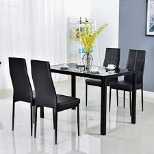 Modern 5 Pieces Dining Table Set Glass Top Dining ... - Amazon.com