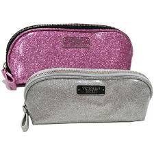 victoria s secret cosmetic bag travel makeup pencil case glitter zip closure new ebay