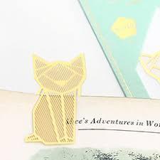 gold bookmark cat