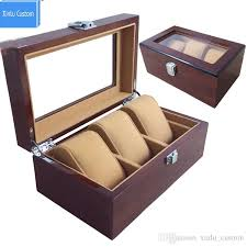 3 grids wooden watches display box jewelry storage organizer brown case with pillow collections holder watch boxes custom personal case time leather travel