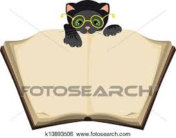 cat reading open book ilration in vector format eps
