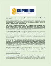 Superior Concrete Designs Superior Concrete Uses Advanced Technology To Manufacture