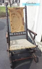 antique platform rocking chair before restoration